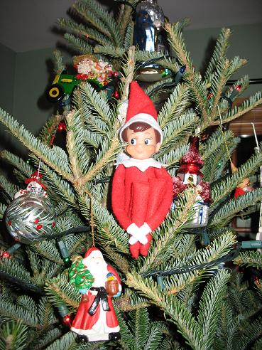 elf on the shelf on tree