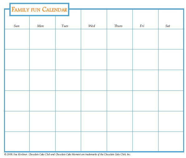 Chocolate Cake Club Family Fun Calendar